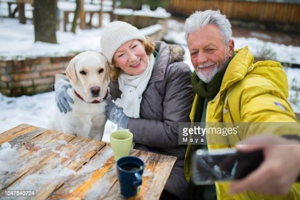 Senior couple enjoy winter time