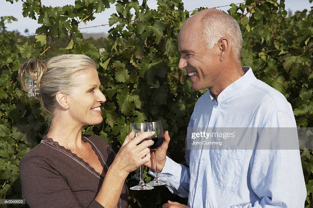Senior Couple Enjoying a Glass of Red Wine in a Vineyard : Stock Photo