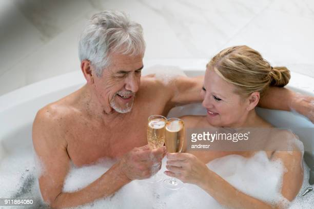 Naked old man in hot tub, xxx sex mature