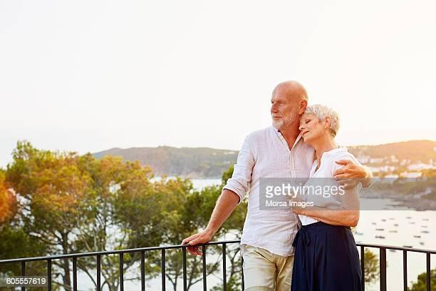 Senior couple enjoying nature on terrace