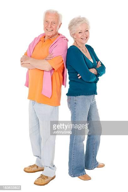 Senior Couple Full Length Isolated on White