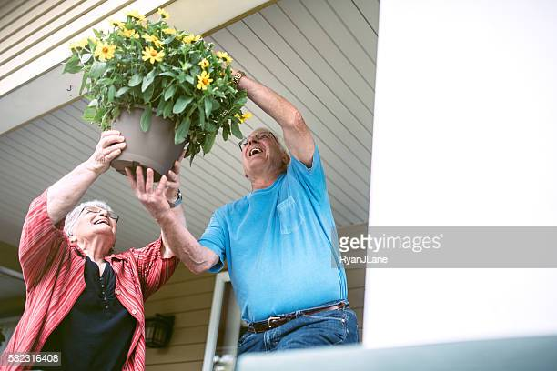 senior couple hanging flowers at home - hanging basket stock pictures, royalty-free photos & images