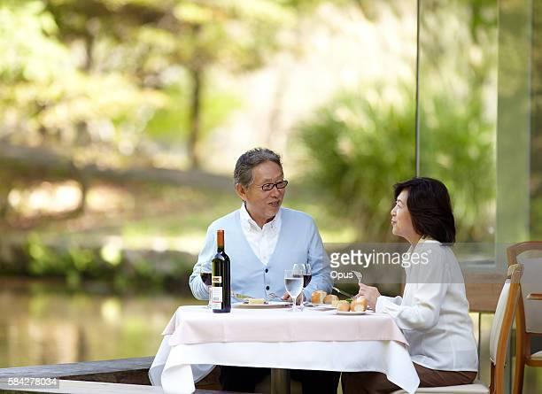 Senior Couple Having Afternoon Tea