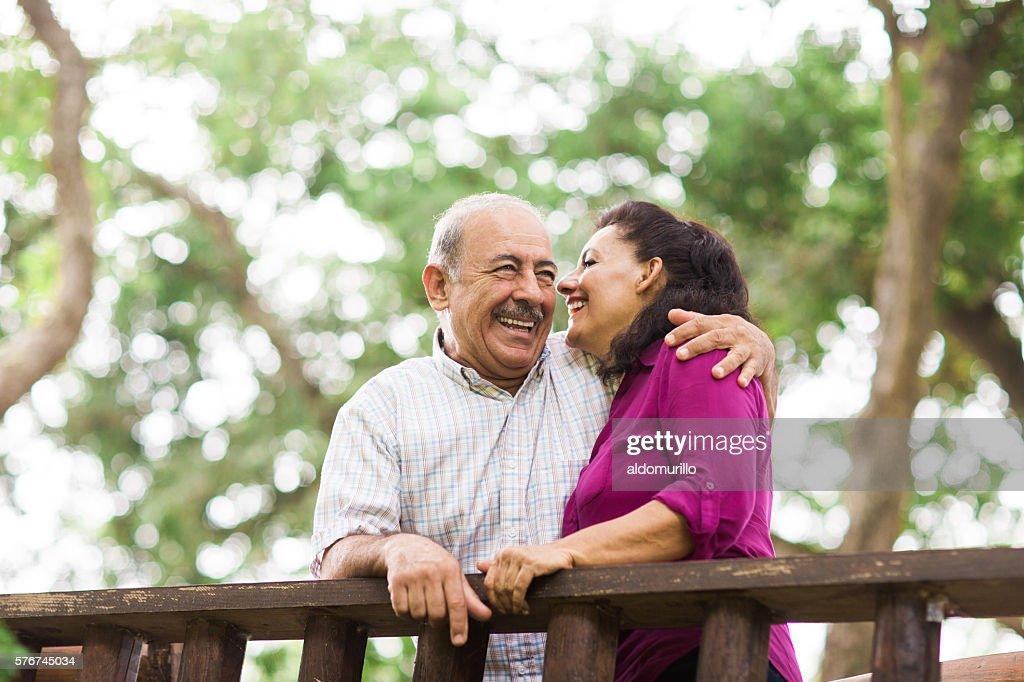 Senior couple having fun outdoors : Stock Photo