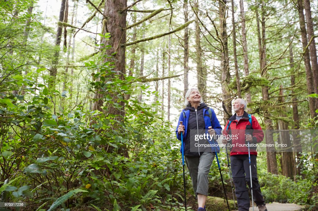 Senior couple hiking along trail in forest : Stock Photo