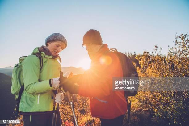 Senior Couple Hiking at Sunrise in Southern Julian Alps, Europe