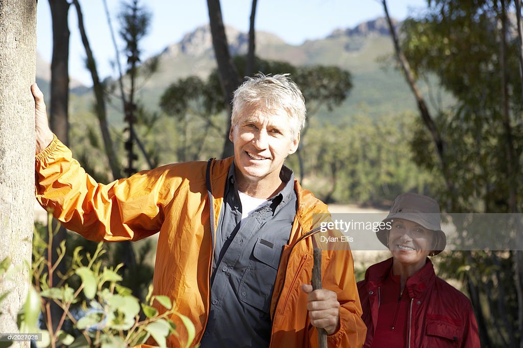 Senior Couple Hiking in a Forrest : Stock Photo