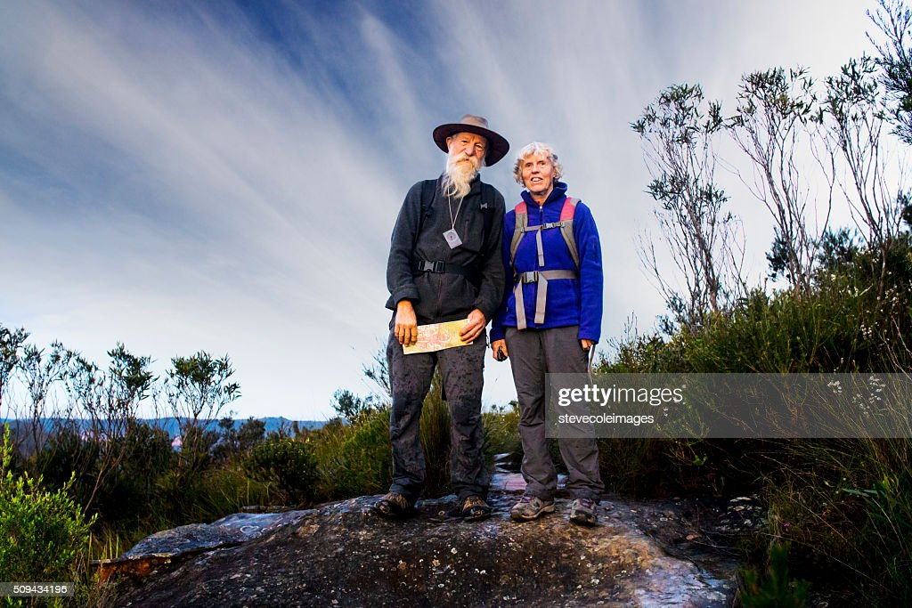 Senior Couple Hiking in the Australia outback. : Stock Photo
