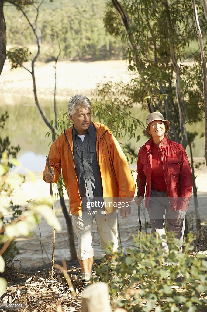 Senior Couple Hiking in the Countryside : Stock Photo