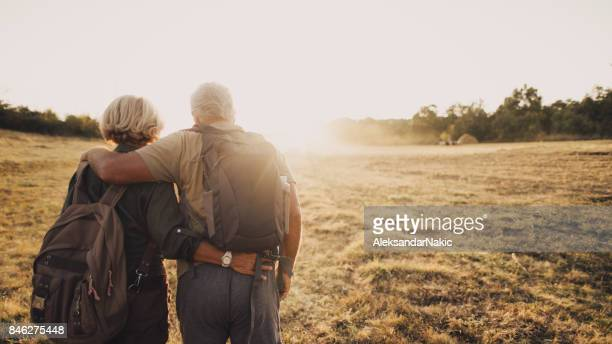 senior couple hiking - rear view photos stock photos and pictures