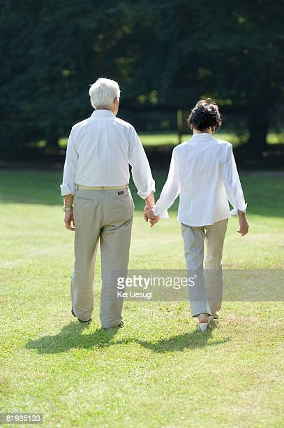A senior couple holding hands in a park