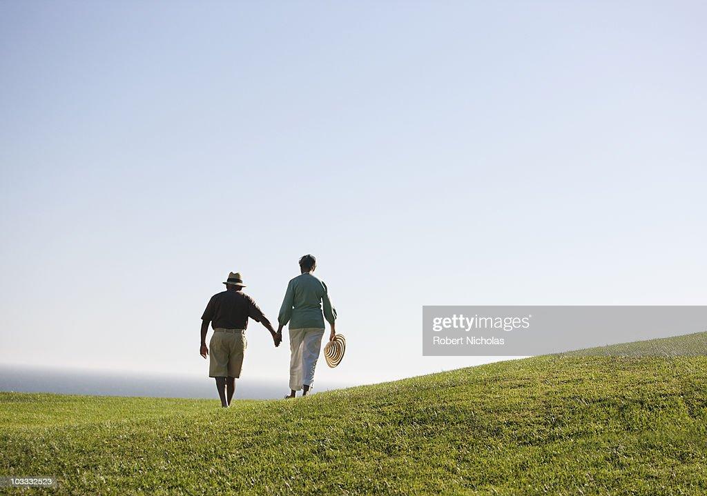 Senior couple holding hands on grassy hill : Stock Photo