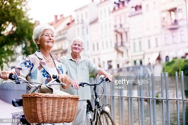 senior couple in a city - ljubljana stock pictures, royalty-free photos & images