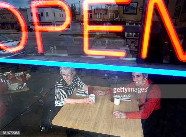 Senior couple in a restaurant