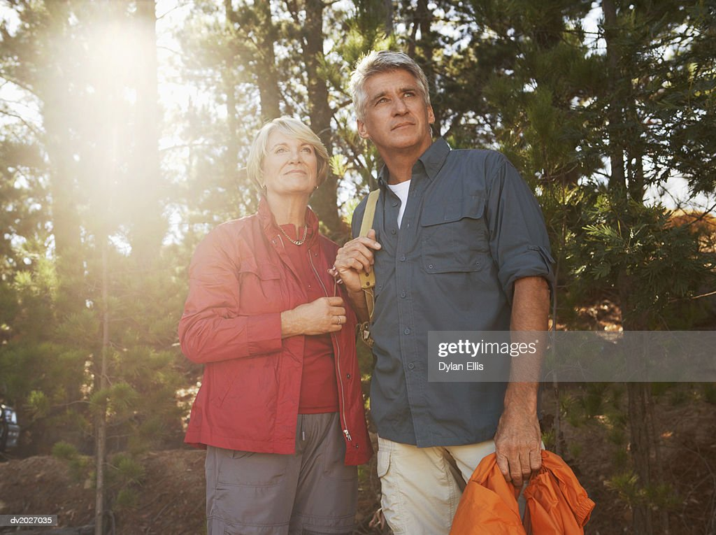 Senior Couple in a Wood : Stock Photo