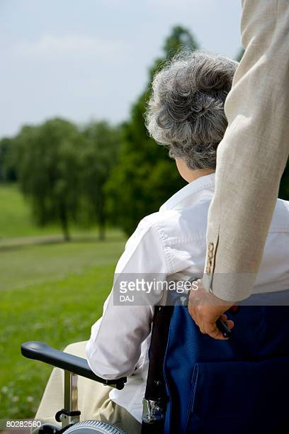 Senior couple in the field, woman in wheelchair, differential focus