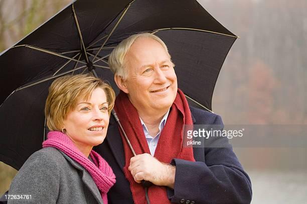 Senior Couple in the Rain