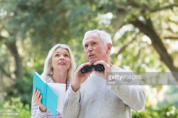 couple âgé en bois pour observer les oiseaux