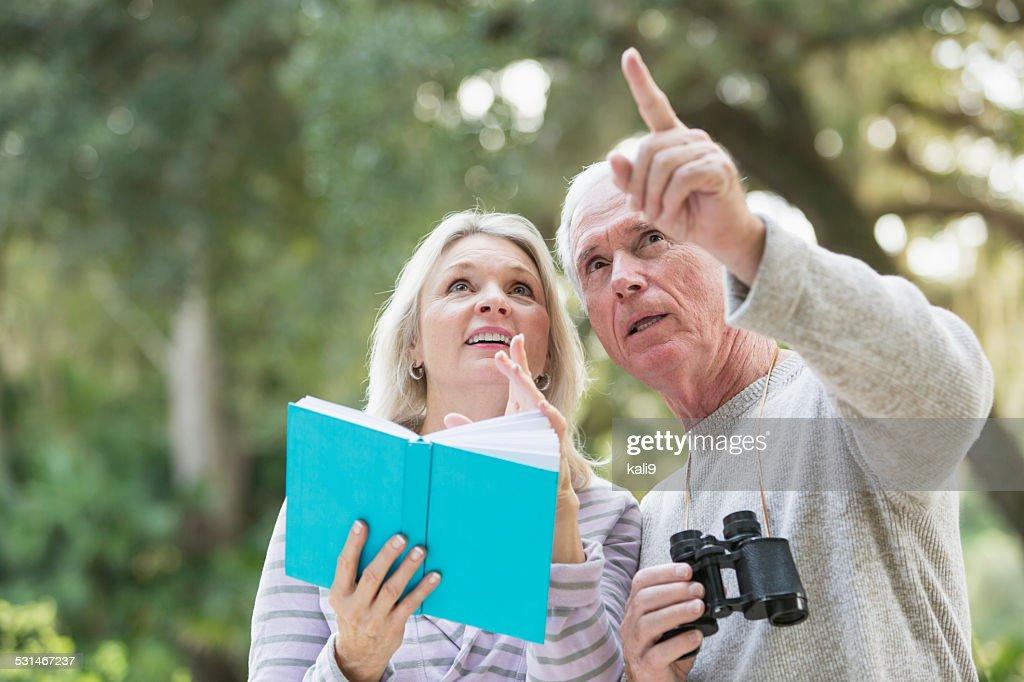 Senior couple in the woods birdwatching : Stock Photo