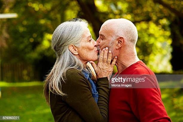 senior couple kissing at park - besar fotografías e imágenes de stock