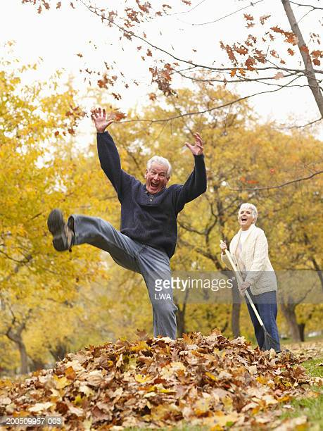 Senior couple laughing in park amongst autumn leaves