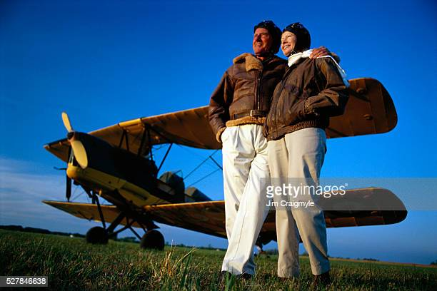Senior Couple near 1937 Tiger Moth