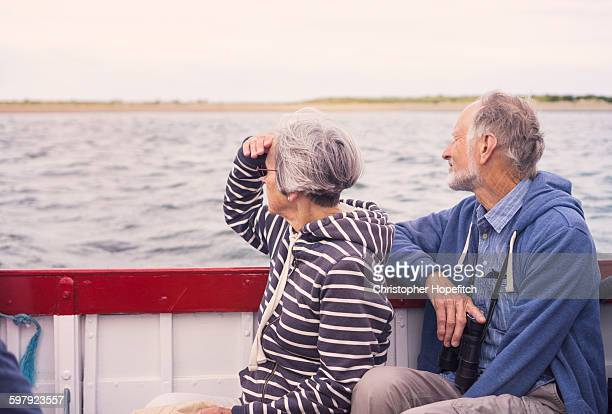 Senior couple on a boat trip