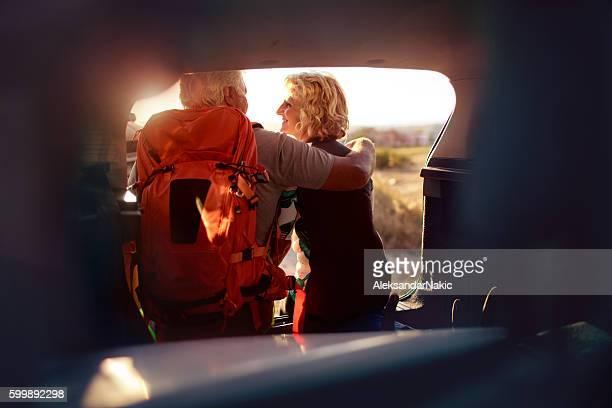 Senior couple on a road trip