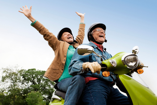 Senior Couple on Scooter - gettyimageskorea