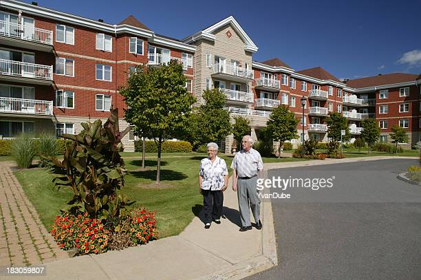 senior couple outdoors walking