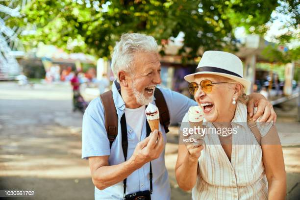 senior couple - ice cream stock pictures, royalty-free photos & images