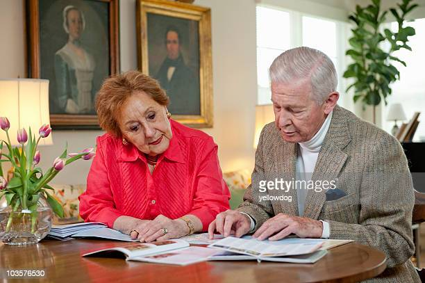 Senior couple planning a vacation