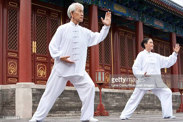 senior couple practicing tai chi, temple of heaven - temple of heaven stock pictures, royalty-free photos & images