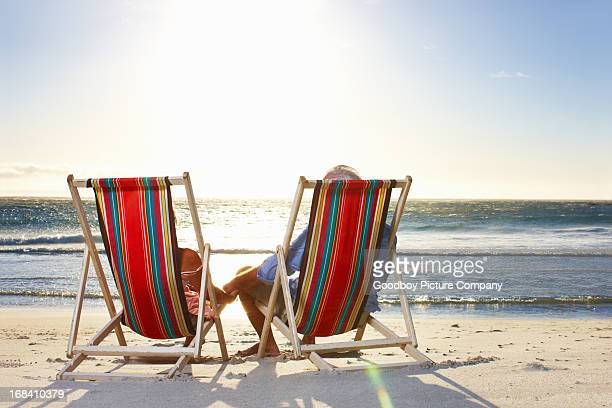 Senior couple relaxing at the beach