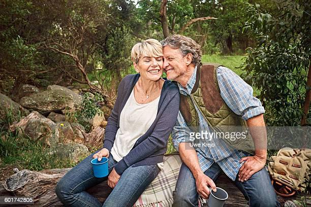 Senior couple relaxing in park