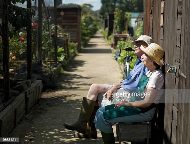 senior couple resting in an allotment - キングストンアポンテムズ ストックフォトと画像