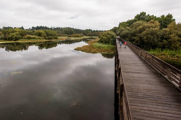 Senior couple ride bicycles over an old trestle bridge