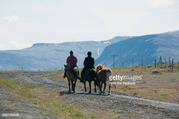 A senior couple riding Icelandic horse at Hvalfjörður in the West Region of Iceland
