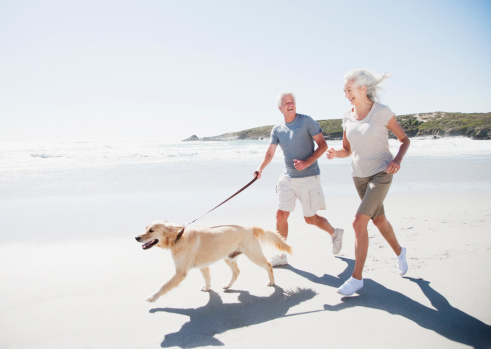 Senior couple running on beach with dog - gettyimageskorea