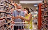 shopping with masks because coronavirus