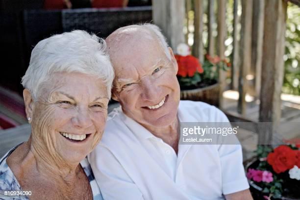 senior couple showing affection