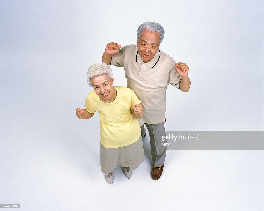 A senior couple standing : Stock Photo