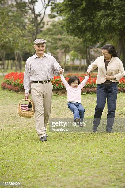 Senior couple swinging their granddaughter in a park