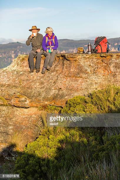 Senior Couple Taking a Break from Bushwalking Near Sydney Australia