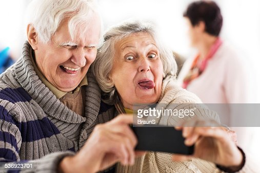 Senior Couple Taking A Selfie Stock Photo | Getty Images