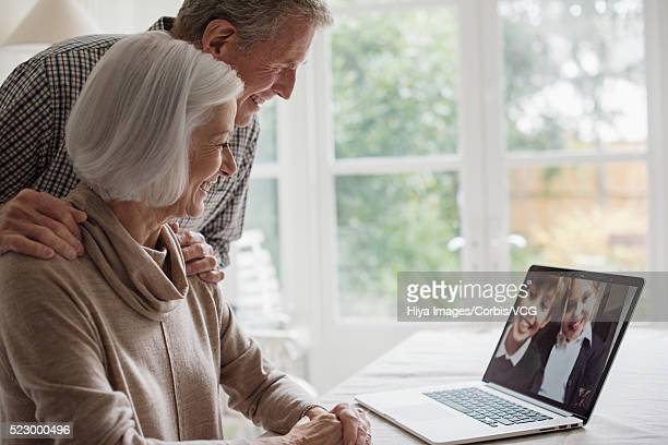 Senior couple video chatting