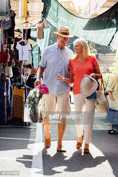Senior Couple Vistiting an Outdoor Market