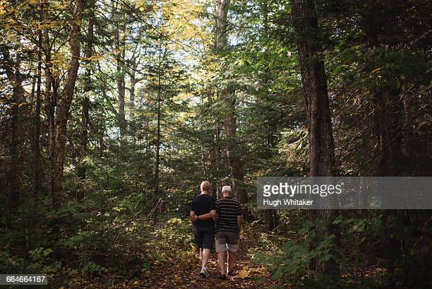 Senior couple walking through forest, rear view