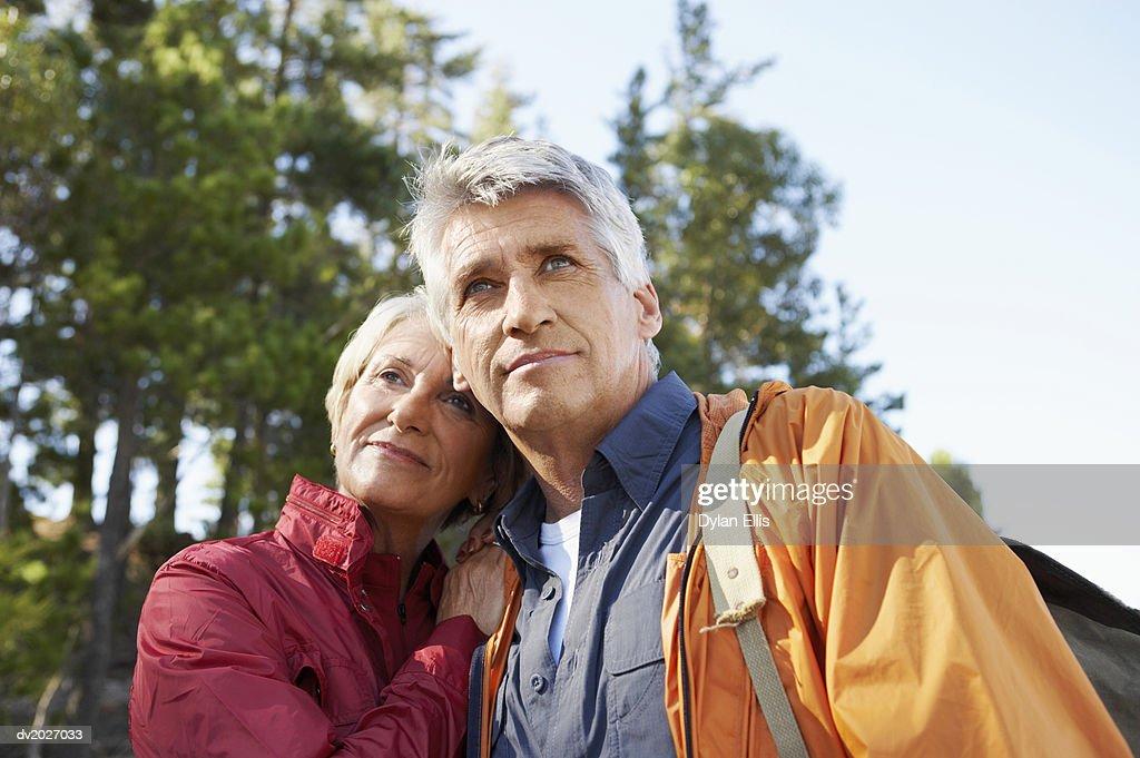Senior Couple Wearing Weather Proof Clothing : Stock Photo