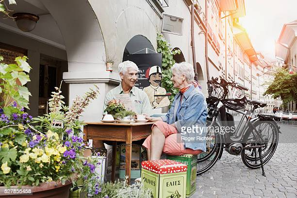 senior couple with bicycles